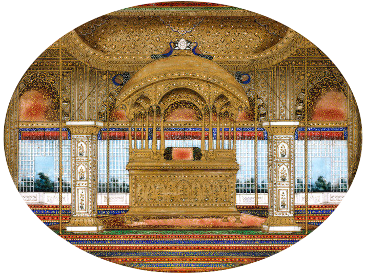Sixteen_views_of_monuments_in_Delhi_Peacock_Throne_Red_Fort_Delhi_1850